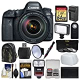 Canon EOS 6D Mark II Wi-Fi Digital SLR Camera & EF 24-105mm f/4L IS II USM Lens with 64GB Card + Backpack + Flash + Video Light + 3 Filters Kit