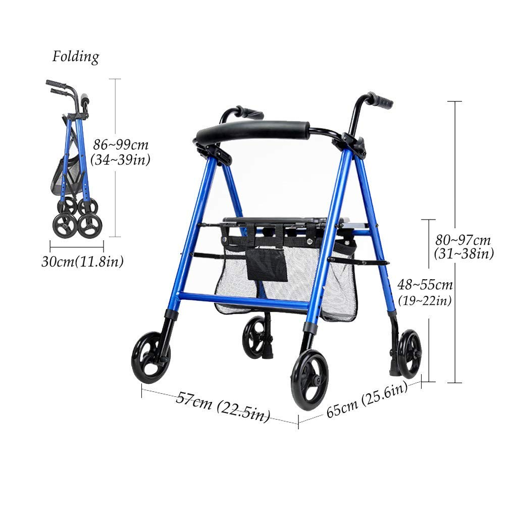 Amazon.com: Andador de rodillo ligero con asiento y cesta y ...