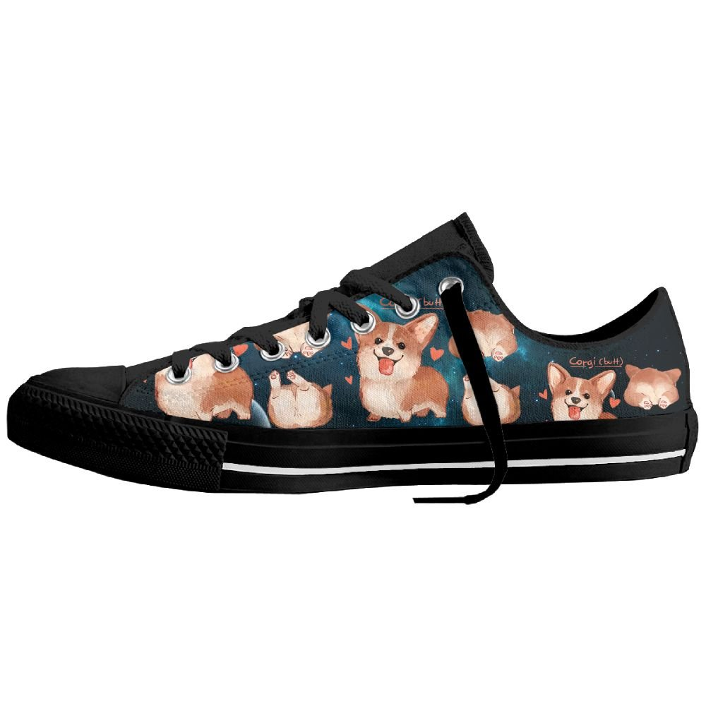 Love Corgi Butt Dog Low-Top Sneaker Canvas Shoes Boys Womens Low Top Flats Plimsolls