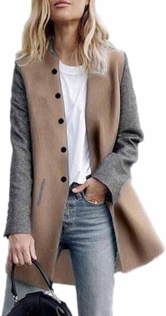 Toamen Cardigan Veste Femmes Long manteau Coutures de couleur contrastée Manche longue Décontractée poids léger (S, Gris)