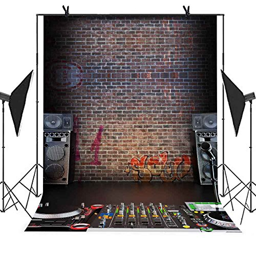MEETS Backdrop 5x7ft Music Recording Studio Graffiti Brick Wall Photo Video YouTube Studio Photography Background MT006 by MEET's story