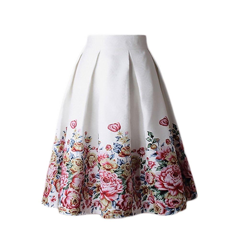 8b47c5051 Falda Mujer Elegantes Cintura Alta Falda Plisada Moda Estampado ...