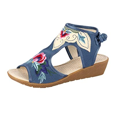 58f65660693ab Amazon.com | DOMUMY Womens Wedge Sandals, Women Sandals Wedges Color ...