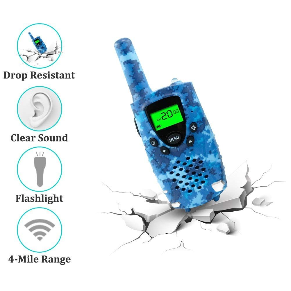 FAYOGOO Kids Walkie Talkies, Birthday Presents for Kids, 22-Channel FRS/GMRS Radio, up to 4-Mile Range Two Way Radios, Best Toys for 3 4 5 6 7 8 9 10 Year Old Boys & Girls (Camo Blue) by FAYOGOO (Image #3)