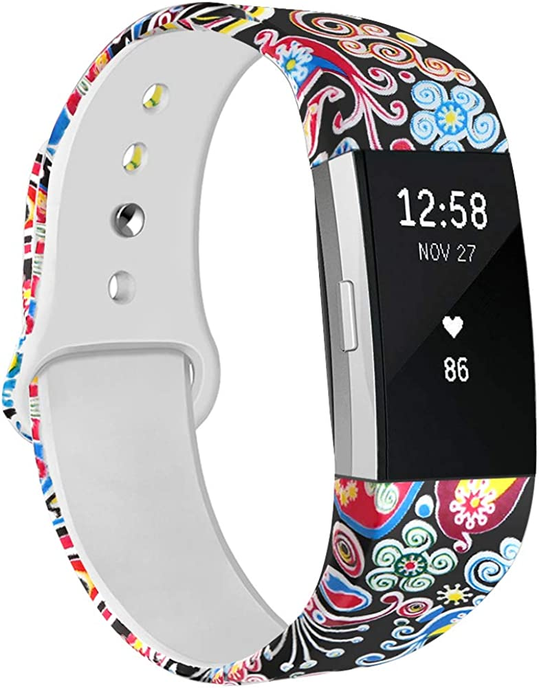 Women Men Soft Silicone Pattern Printed Replacement Bands Adjustable Sport Wristbands Strap Accessories for Fitbit Charge 2 Large Small NAHAI Bands Compatible with Fitbit Charge 2