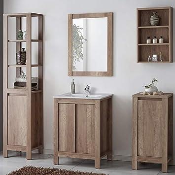 Lomadox Landhaus Badezimmer-Möbel Komplett Set ○ Holzoptik ...