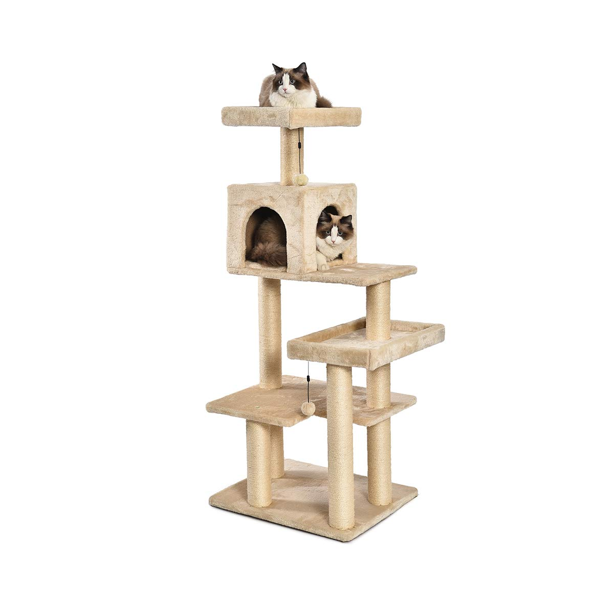 AmazonBasics Extra Large Cat Tree Tower with Condo - 24 x 56 x 19 Inches, Beige by AmazonBasics