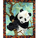 Original Textile Wall Hanging Animal Art Quilt, Panda Bear Tapestry, OOAK Home Child Room Decoration
