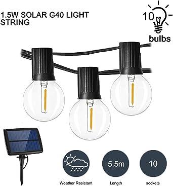 Donpow Luces de cuerda G40 Globe, 10 luces LED blancas cálidas de 1.5W a prueba de agua con 4 modos para Patio Garden Backyard Bistro Pergola Gazebo Party Decor: Amazon.es: Iluminación