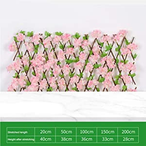 N/Z Expandable Fence, Wooden Hedge with Artificial Flower Leaves Garden Decoration Screening Expanding Trellis Privacy Screen Artificial Hedges Panels, Privacy Fence Screen