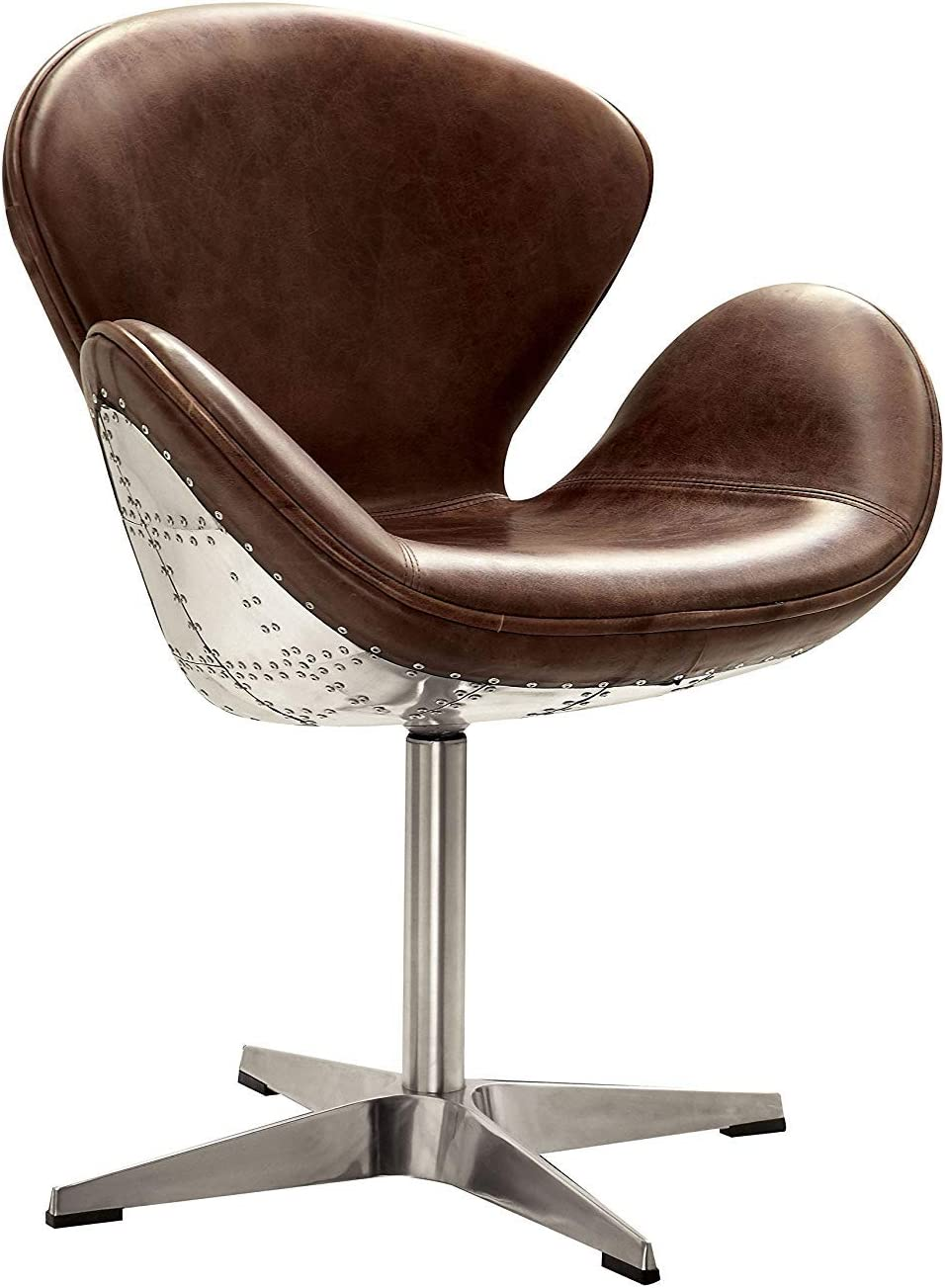 ACME Furniture 96553 Brancaster Swivel Chair, Retro Brown Top Grain Leather/Aluminum