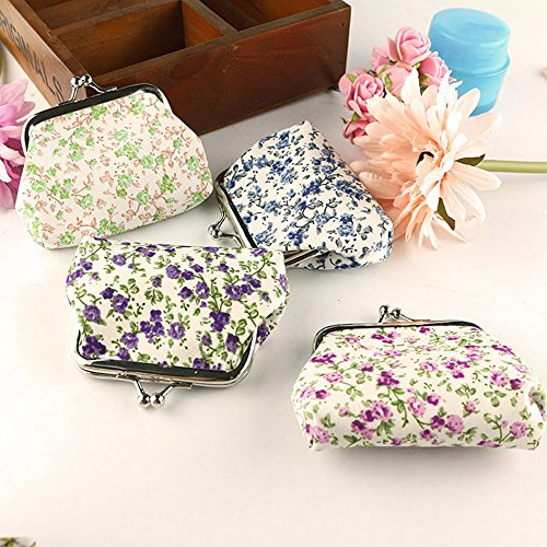 (Kecar❤Lady Retro Wallet, Vintage Flower Small Hasp Coin Purse Clutch Bag Handbag for Student, Wedding, Party, Daily Casual Wearing, Travel, Office Occasion)