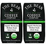 The Bean Coffee Company Organic Mocha Java, Medium Roast, Whole Bean, 16-Ounce Bags (Pack of 2)