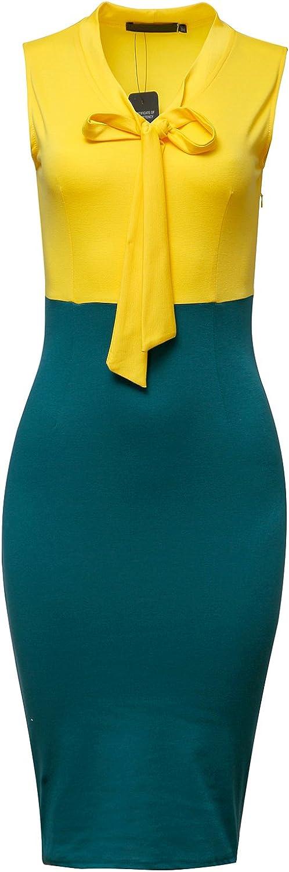 CISMARK Women's Chic Color Block V-Neck Sleeveless Office Pencil Dress