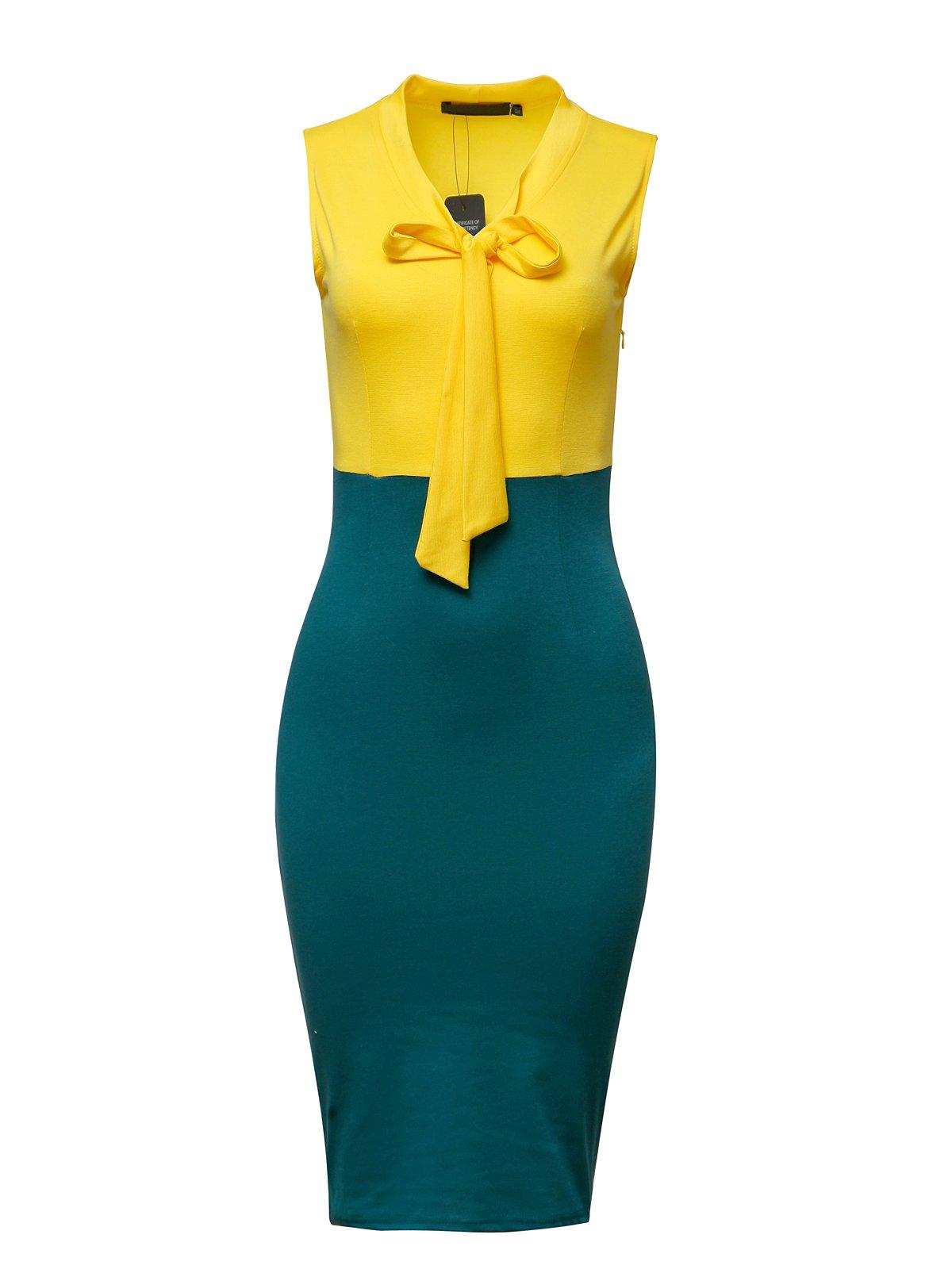 CISMARK Chic Bowknot Sleeveless Knee Length Business Pencil Dress Yellow XL