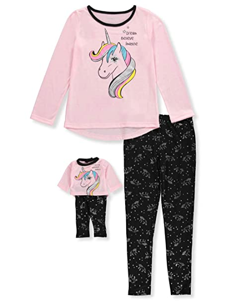 469b8eb0bfb3 Komar Kids Big Girls  2-Piece Pajamas with Doll Outfit - Black