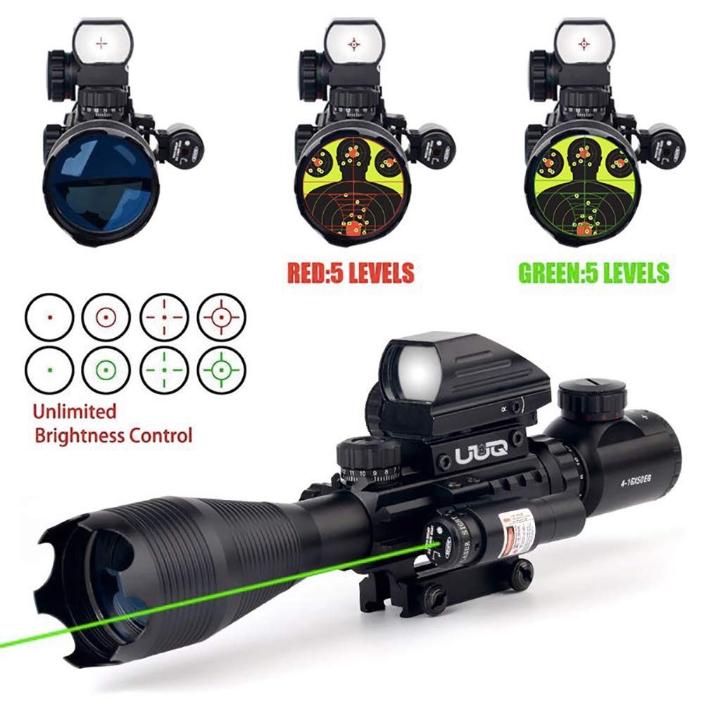 UUQ 4-16x50EG Tactical Rifle Scope Red/Green Illuminated Range Finder Reticle With Green Laser and Multi Optical Coated Holographic Dot Sight (12 Month Guarantee) by UUQ