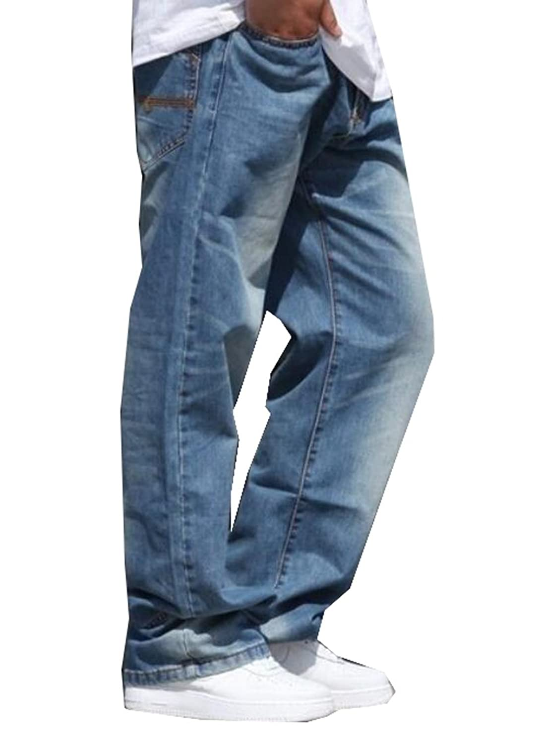 MLG Men's Casual Style Washed Straight Denim Jeans