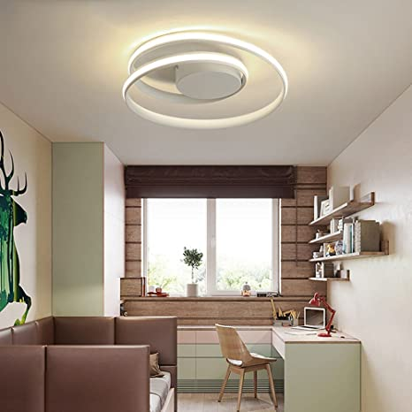 LeohomePlafonnier plafoniere rotondo a led per soggiorno cucina lampade  plafond moderne plafoniere illuminazione, bianco 46CM x 12CM, dimmerabile  con ...