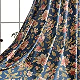 WPKIRA Thermal Insulated Grommet Window Curtain Drapes Semi Blackout Curtains Living Room Linen Blended Fabric Special Flower Printed Window Treatment Drapes Sliding Door 1 Panel W75 x L96
