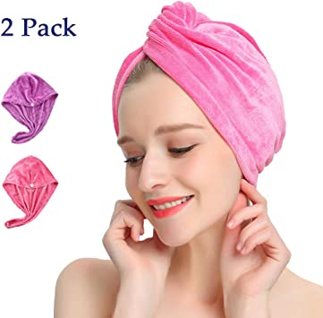 KinHwa Hair Drying Towels Microfibre Hair Wrap Turban for Women Highly Absorbent Quick Drying Bath Shower Head Wrap Fit All Hair Type 3 Pack White