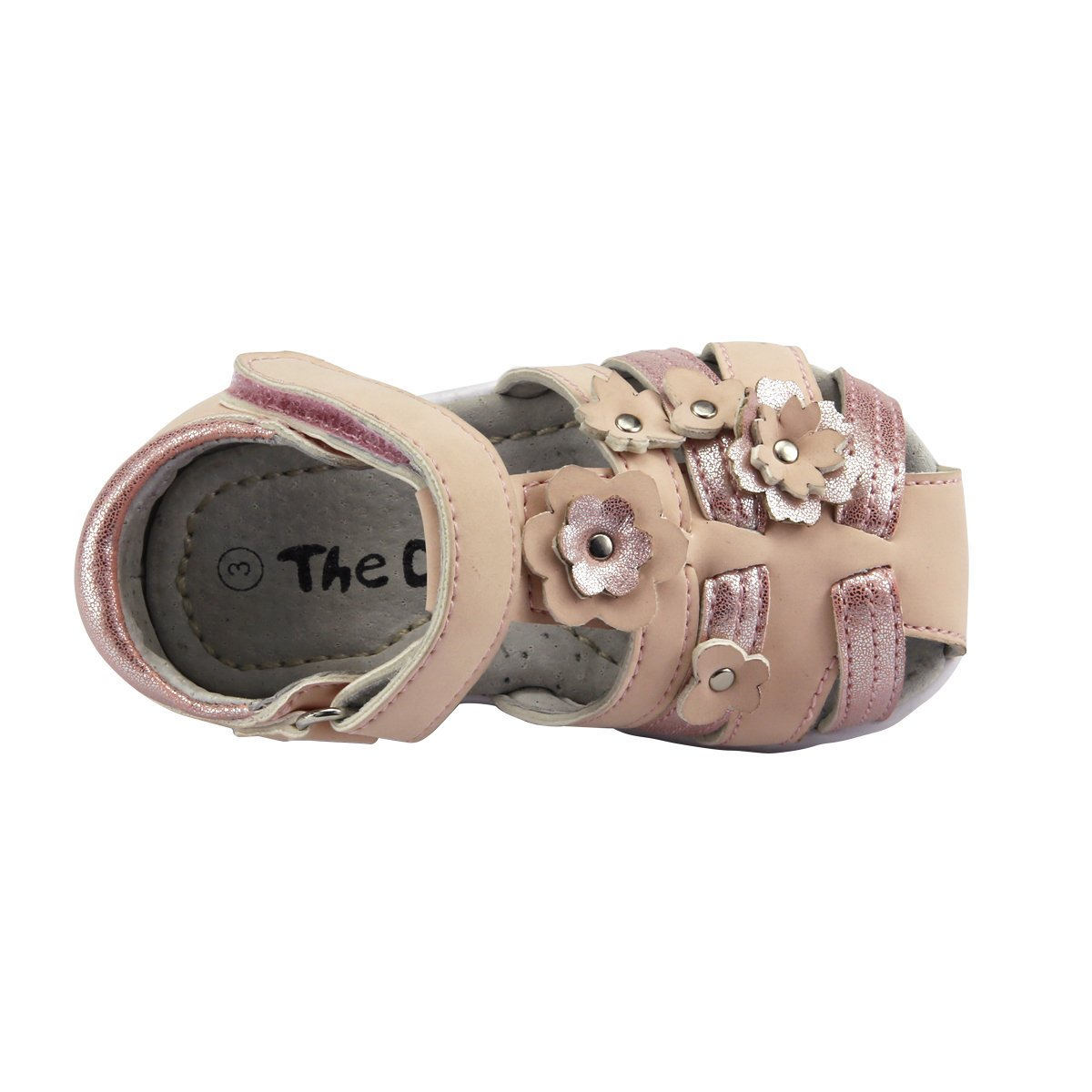 Baby Girls 3d Flowers Sandals Shoes Two-tone Colors Peach Toddler Size 7