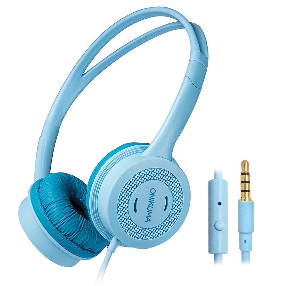AFUNTA Girls Boys Kids Headphone, 85db Volume Limited / 3.5mm Audio Jack/Microphone/1.2m Long Cord, Children Ears Headset Compatible Smartphone Tablet PC School, Age 3-12,Blue