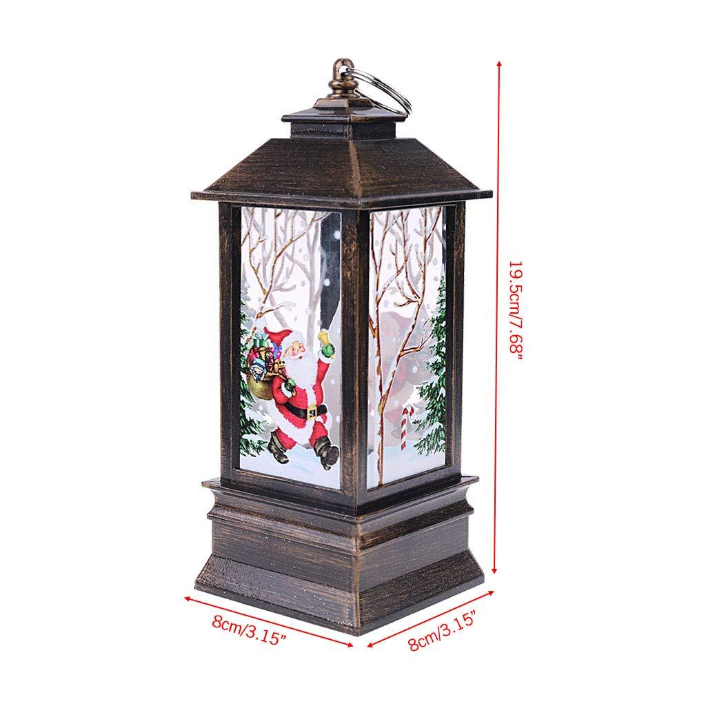 kanersty Christmas Vintage Santa Snowman LED Painted Lamp Wind Light Hanging Lantern
