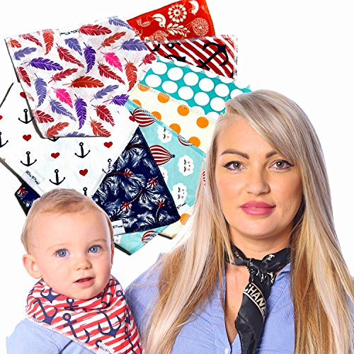Navy Single Stroller (Baby Bandana Drool Bibs - 100% Natural Organic Cotton with Fleece Back - Unisex 8-Pack Gift Set with Popular Nautical and Beach-Themed Designs for Boys and Girls | by So Peep)