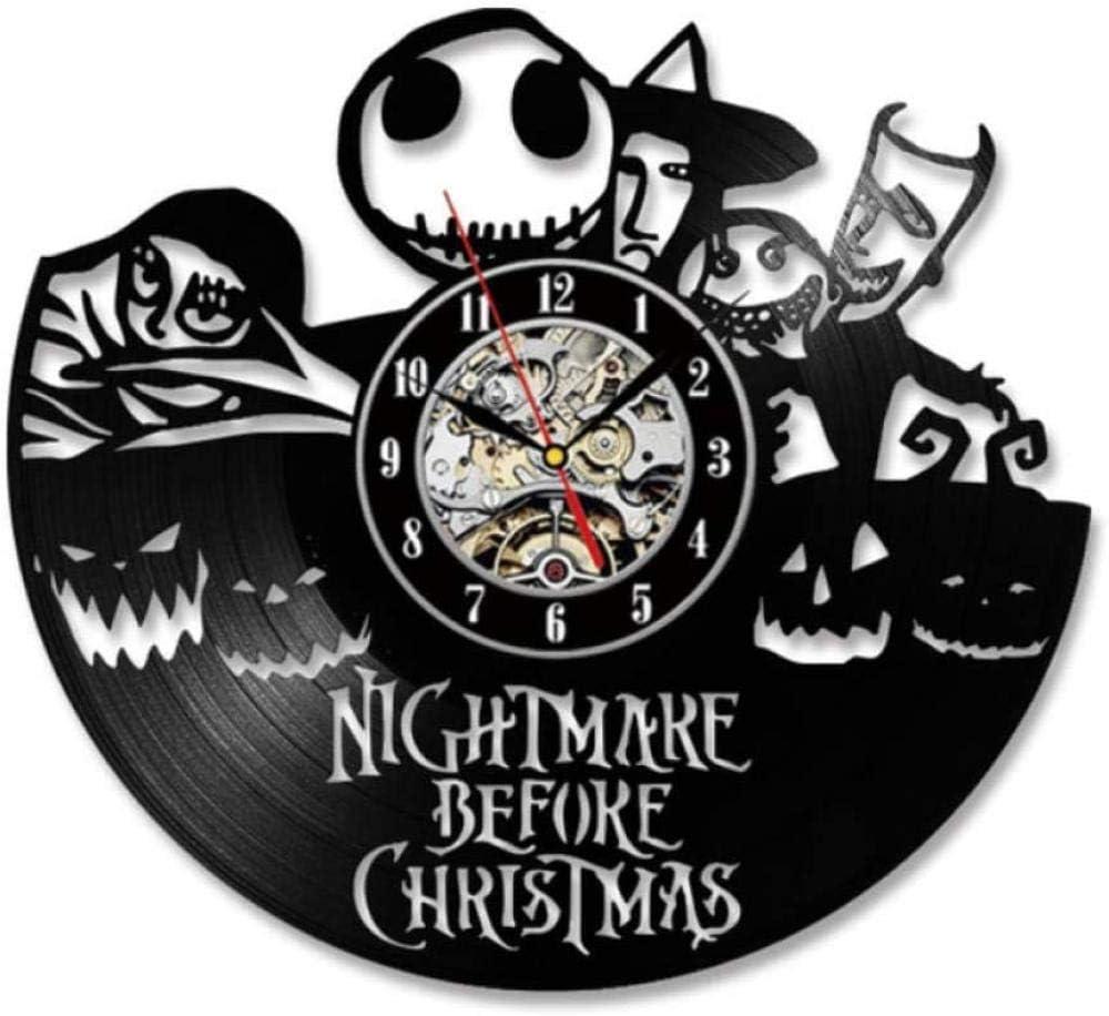 xfshey Persona Malvada Reloj de Pared de Vinilo Reloj de Registro Reloj de Registro de Reciclaje Relojes Retro Vintage Lámpara Colgante silenciosa Reloj de Cuarzo Relojes de Pared Hechos a Mano