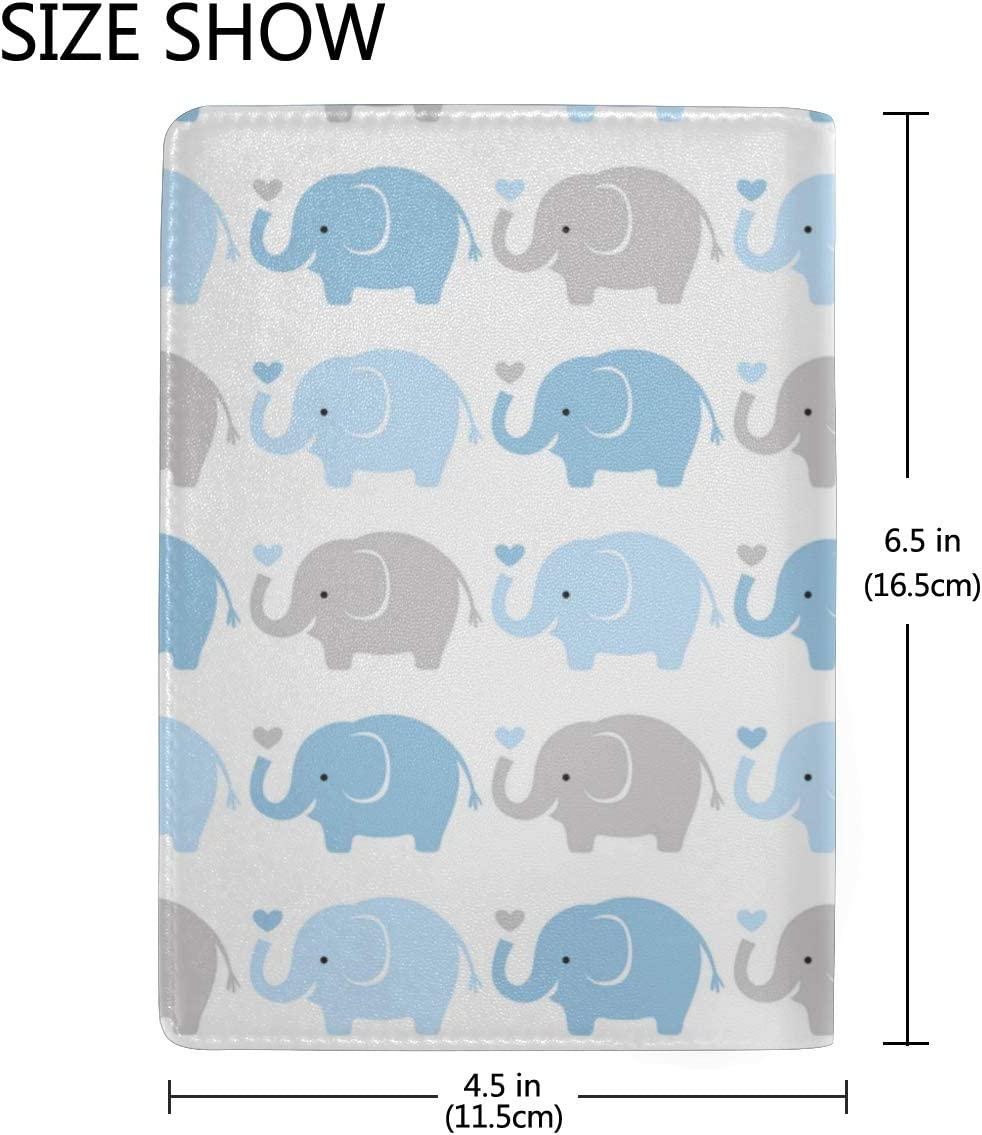 Cute Funny Cartoon Elephants Flying On Balloons Blocking Print Passport Holder Cover Case Travel Luggage Passport Wallet Card Holder Made With Leather For Men Women Kids Family