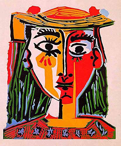 Neron Art Pablo Picasso Head of A Woman in A Hat, 1962 - Original Abstract Canvas Paintings Hand Painted Reproduction Rolled - 40X50 cm (Approx. 16X20 inch) for Wall Decoration