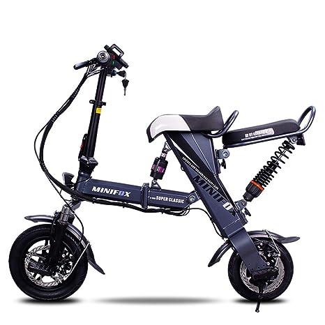Xiaomu Bicicleta eléctrica Plegable Ligera y de Aluminio, Ruedas de 12 Pulgadas y Asiento Trasero