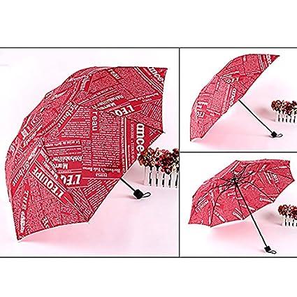 OYang Windproof protección UV paraguas para lluvia coche rosa Ext ¨ ¦ rieur rojo rojo