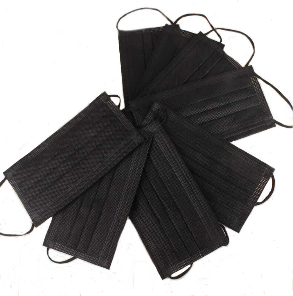 Flyusa 4 Layer Non-woven Fabric Disposable Surgical Dust Filter Ear Loop Thick Mouth Cover Face Masks for Men Women Black,30 Pcs