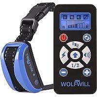WOLFWILL Collier de Desserrage Anti-aboiement Etanche Rechargeable pour Chien en Mode de Bip/Vibration, de Choc Electrostatique et Automatique Ecran LCD pour Un Chien