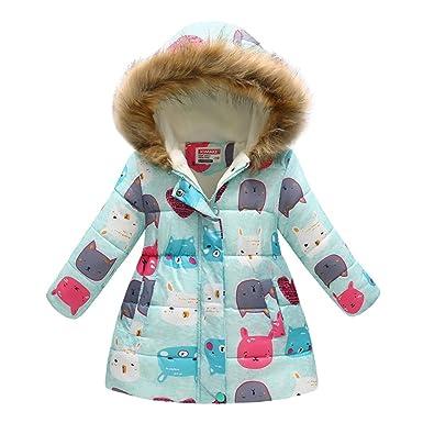 b3c09b23c Amazon.com  Girls  Winter Down Coat Puffer Jacket Padded Fleece ...