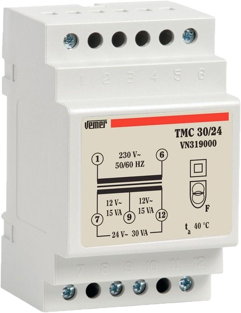 Vemer vn319000Transformador TMC 30/24de Barra DIN para Servicio Continuo 230V/12–24V Potencia 30VA, Gris Claro