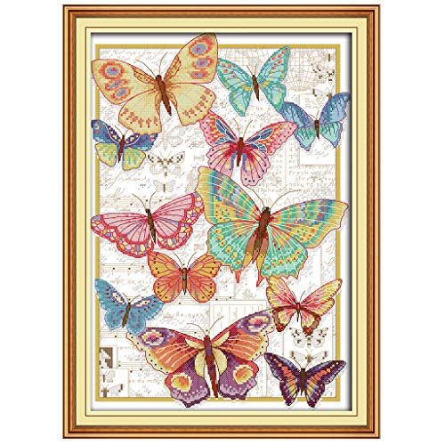 Free Butterfly Cross Stitch Patterns - VIccoo 14CT Counted Cross Stitch Kits, Butterfly Cross-Stitch Pattern DIY Hand Needlework Kit Printed Embroidery Kit Set Home Decoration