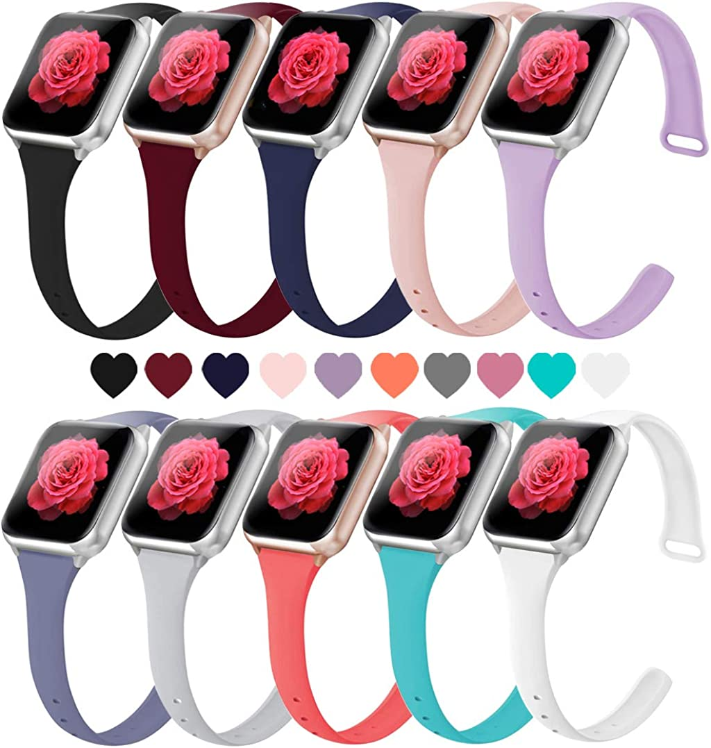 Elaikement Slim Bands Compatible for Watch Bands 38mm 40mm 42mm 44mm , Soft Silicone Sport Band Narrow Thin Replacement Wristband Strap Women Men for Watch Series 6/5/4/3/2/1/SE