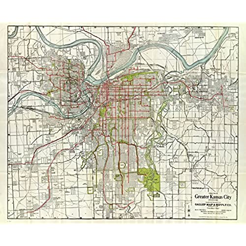Kansas city map amazon 1920 old historical map kansas city missouri various sizes reprint sciox Image collections