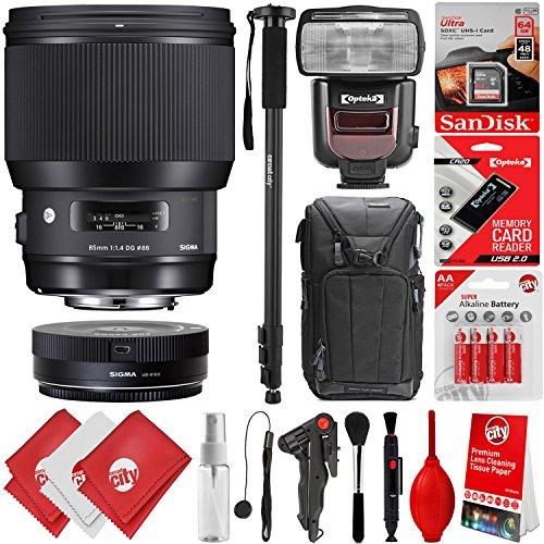 Price comparison product image Sigma 85mm f1.4 DG HSM Art Lens for Nikon F DSLR Cameras + 64GB 17PC Bundle for D810 D750 D610 D7500 D7200 D7100 D7000 D500 D5600 D5500 D5300 D5200 D5100 D3400 D3300 D3200 and D3100