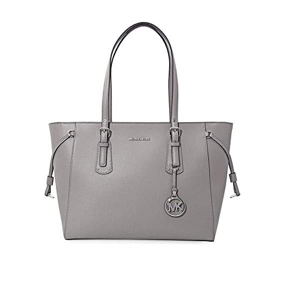 c45a62a7e6 Michael Kors Voyager Pearl Grey Saffiano Leather Tote Bag Grey Leather   Amazon.co.uk  Clothing