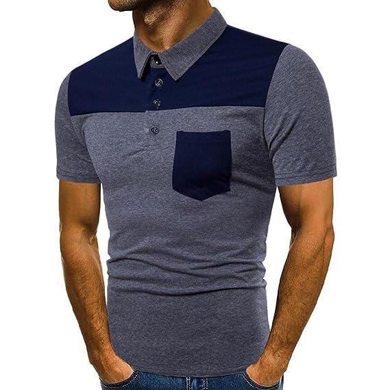 Diseño de la moda de los hombres del diseño de verano Patchwork Casual delgada manga corta