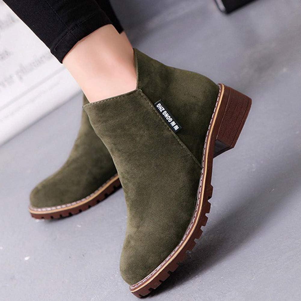 Zip de Las Mujeres Botines Mujer Cuadrados Tacones Bajos Plataforma Moda Calzado Otoño Invierno Damas Zapatos Casuales Army Green ze7C6