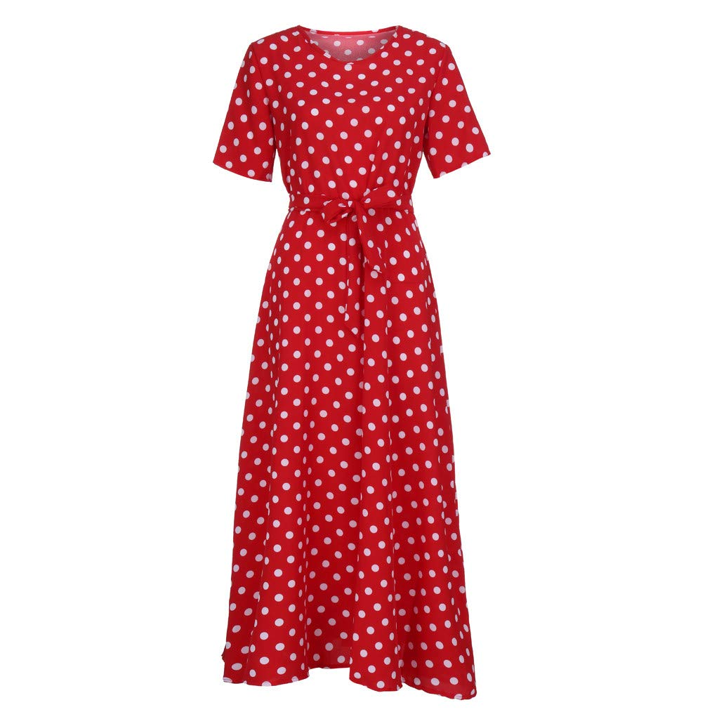 Yucode Womens Summer Polka Dot Short Sleeve Dress Tunic Long Maxi Dress Casual Sundress with Belt
