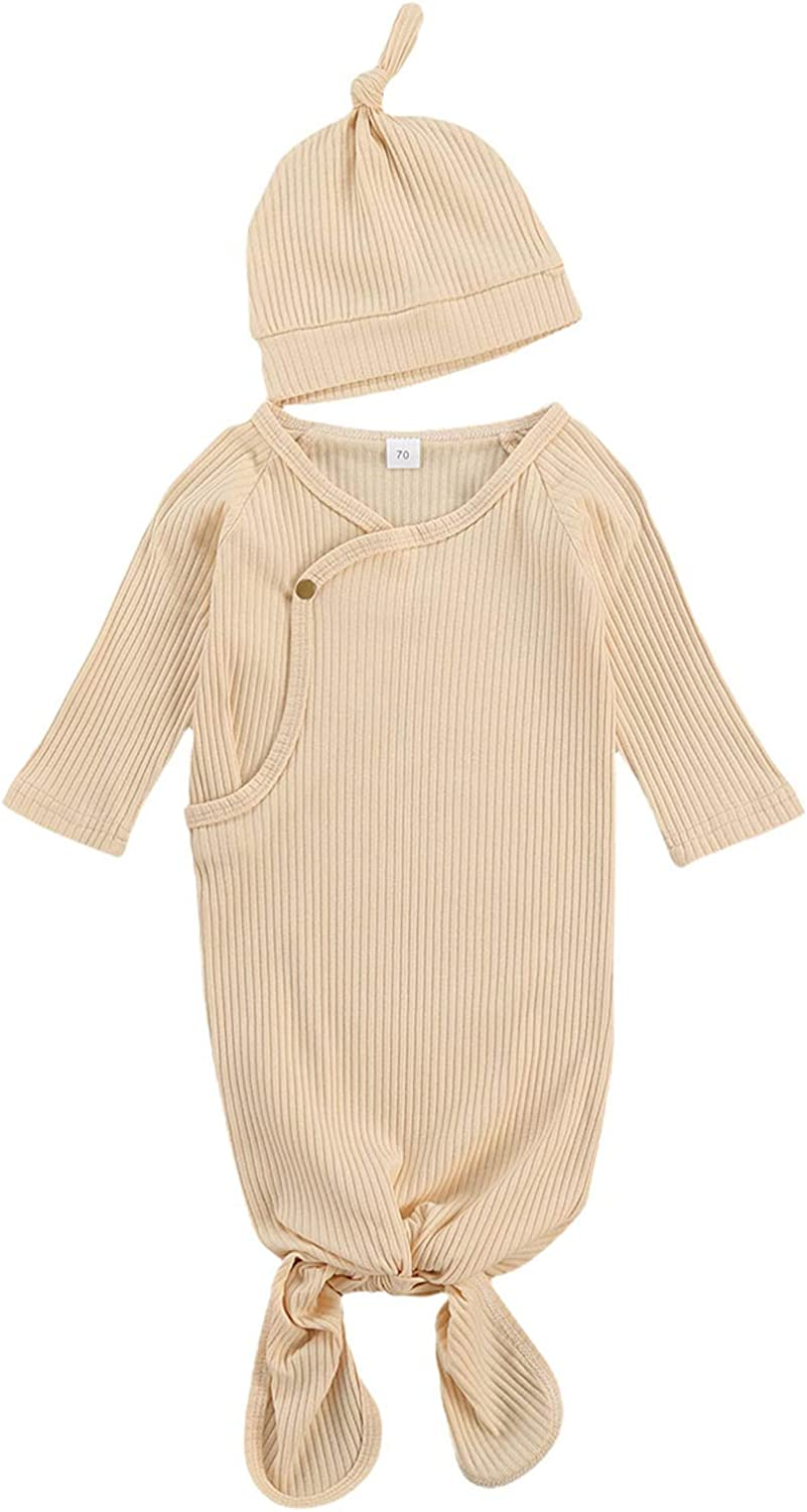 Baby Gown Newborn Cotton Nightgown Long Sleeve Ribbed Sleeping Bag+Hat Baby Boy Girl Coming Home Outfits Set