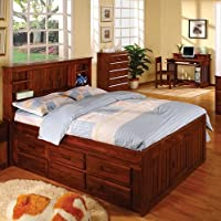 Discovery World Furniture Merlot Bookcase Captains Bed Full With 6 Drawer Storage (6 on ONE side)