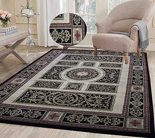 8x10 Black Ivory Beige Tan Persian Oriental Traditional Vintage Floral Modern Contemporary Faux Antique Tabriz Living Room Bedroom Hand Knotted Hand-Woven Sale ( Tabriz 413 Black Ivory ) (Area Carpet Oriental Rug Tabriz)