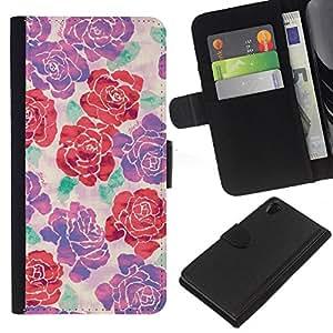 iBinBang / Flip Funda de Cuero Case Cover - Purple Red Floral Spring Pattern - Sony Xperia Z2 D6502 D6503 D6543 L50t